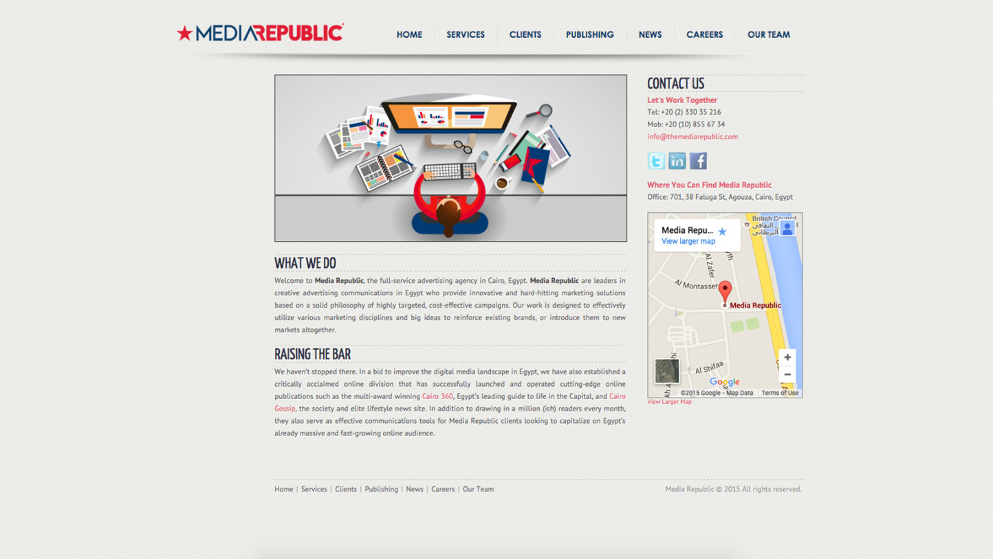 Media Republic Corporate Website - Web Projects in Egypt